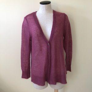 J.Jill light purple mohair cardigan sweater LP